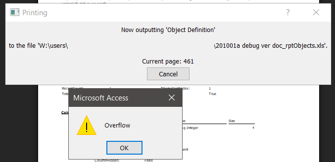 201001a db debug ver Error Overflow Object documenter.png