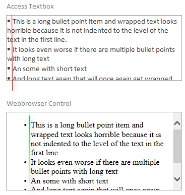 Access Rich-/HTML-Textbox does indents bulleted lists with