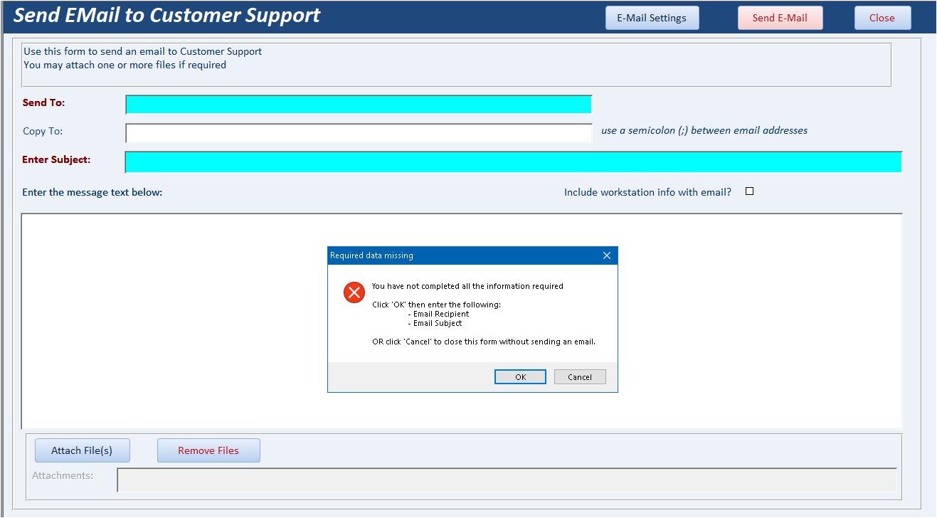 Check for empty/null fields in subform datasheet recordset