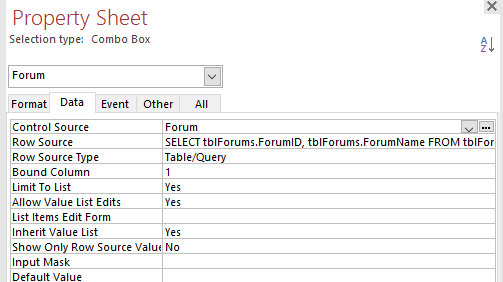 ms access list items edit form