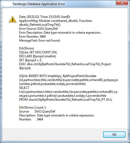 How to capture QueryDef error present when run interactively