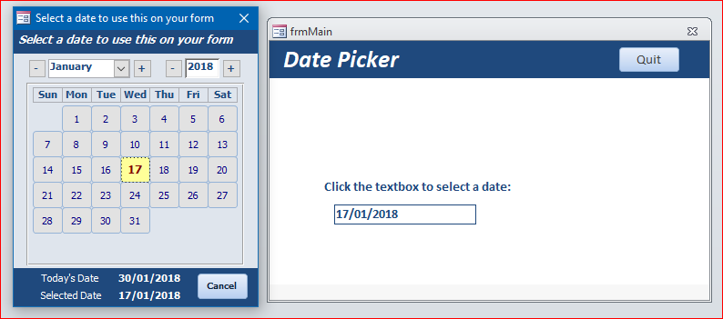 A better date picker - Access World Forums