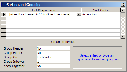 Concatenate 2 field in a control source and sort by one